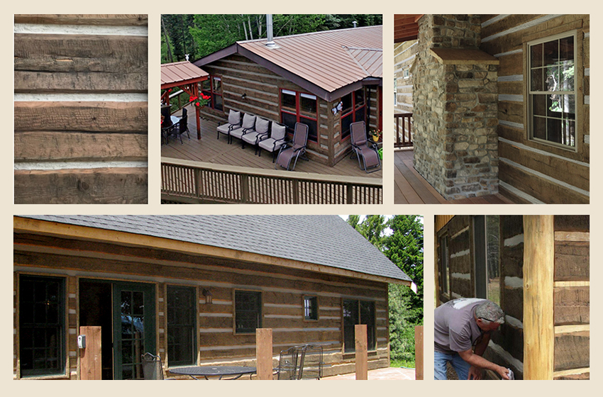 Hand Hewn Distressed Log Cabin Siding